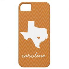 Burnt Orange and White Texas Love Chevron Monogram iPhone 5/5S Cases