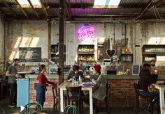 Glass Merchants - Cafe in Balaclava Restaurant Concept, Cafe Restaurant, Cafe Bar, Melbourne, Industrial, Balaclava, Interior Design, Glass, Tables