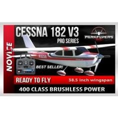 """The new Cessna 182 V3 Pro Series Electric rc plane is our """"BEST SELLING"""" trainer that we have. The included brushless motor provides 60% more power than a standard speed 480 motor..."""