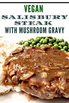 Vegan Salisbury Steak with Mushroom Gravy - Simple and satisfying, old school stick to your ribs comfort food. This one is sure to become a family favorite! Entree Vegan, Vegan Dinner Recipes, Vegetarian Recipes, Vegetarian Cooking, Vegan Meals, Easy Cooking, Vegetarian Steak, Cooking Okra, Vegan Ground Beef