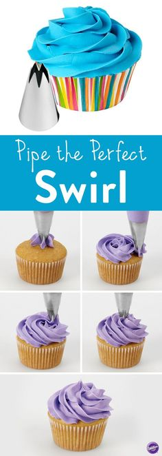 How to Pipe the Perfect Swirl - Here is another quick way to decorate your cupcakes or cakes. It just takes minutes to pipe a fancy iced swirl and add colorful sprinkles using Wilton decorating Tip (cupcake icing recipe) Frosting Recipes, Cupcake Recipes, Baking Recipes, Decoration Patisserie, Dessert Decoration, Decorations, Wilton Decorating Tips, Cookie Decorating, Decorating Cakes