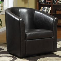 902098 Copper grove tournefeuille dark brown faux leather barrel shaped accent side chair with swivel base. Chair Measures x x H. White Leather Chair, Leather Club Chairs, Brown Leather, Brown Accent Chair, Small Accent Chairs, Ontario, Coaster Fine Furniture, Upholstered Swivel Chairs, Swivel Barrel Chair