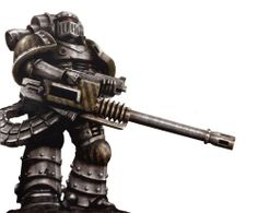 MkIII Iron. Iron Warrior armed with a Reaper cannon.
