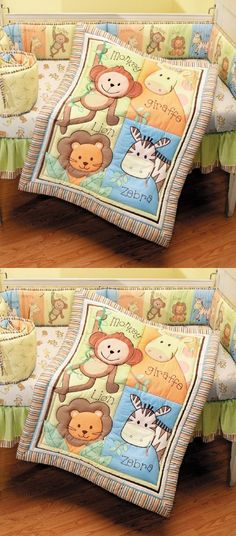 Summer Infant 4 Piece Monkey Jungle Collection Crib Set, Neutral - The  4 Piece Monkey Jungle Crib Bedding Set helps create a fun and dazzling environment for your little one's nursery.  The 4 piece bedding set offers a better way to sleep with a 4 peice crib wrap th... - Bedding Sets - Baby - $59.99