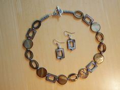 Brown gold mother of pearl necklace and earrings by katrinanixon, $28.00