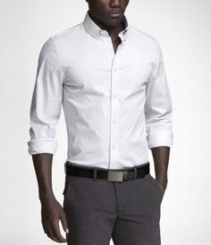 A classic express button-down shirt should be a staple of every man's wardrobe. Groom And Groomsmen Shirts, Mens Fall, Mens Winter, Homecoming Outfits, Button Down Collar Shirts, Men's Wardrobe, Piece Of Clothing, Grey Pants, Man Shop
