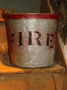 Old Galvanized Vintage FIRE Bucket by misspicklesattic on Etsy