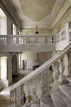"""Holy smokes look at the stone staircase! Has anyone read """"A Discovery of Witches?"""" I imagine stairs like this in Sept Tours... And Matthew on those stairs in a fabulous cashmere sweater, smelling like cloves & looking all """"front cover of a romance novel-ish."""" Sigh."""