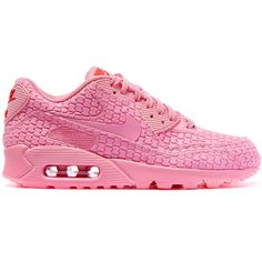 Nike Pink Shanghai Air Max 90 Sweets Trainers ($170) ❤ liked on Polyvore featuring shoes, sneakers, nike, trainers, lacing sneakers, nike shoes, pink sneakers, round cap and nike sneakers