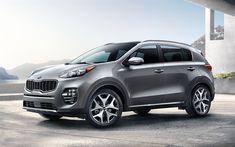 Download wallpapers Kia Sportage, 2018, 4k, silver crossover, new cars, South Korea, Kia