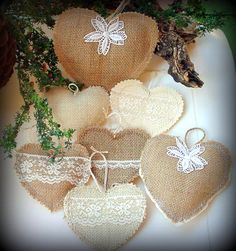 Burlap & Lace Christmas Heart Ornaments. Garland.Bunting.Gift.Tags. Wreath. Wedding. Favors.Vignette.Country Chic. Shabby. Crochet on Etsy, $42.00
