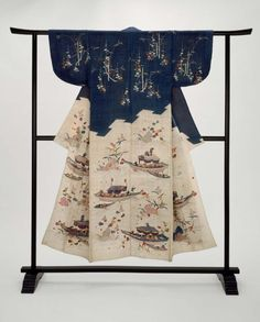 Summer robe made of ramie (katabira) with design on top half of Korin-style plum (Korin Ume) and bamboo on a dark indigo blue ground; lower half, separated by jagged p … Japanese Textiles, Japanese Kimono, Japanese Fashion, Embroidery Floss Storage, Embroidery Patterns, Shibori, Traditioneller Kimono, Cherry Blossom Petals, 18th Century Fashion