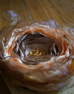 SALE Peach ivory and light gold fabric flower brooch by Flowears, $16.70