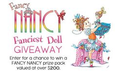 Click the pin for details on how to enter to win a Fancy Nancy prize pack!    #giveaway #contest #sweepstates #dollhouse #fancynancy #picturebook #fancy