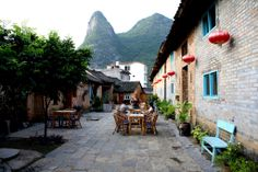 Courtyard of the Giggling Tree guest house, a 20 minute bicycle ride from Yangshuo, China, in the Karst Mountains area. http://www.gigglingtree.com/start.php?taal=en