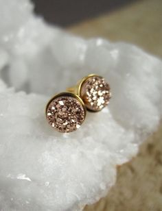 Tiny Rose Gold Druzy Earrings Titanium Drusy by julianneblumlo $60.00