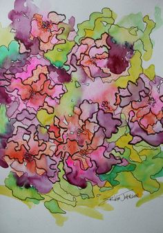 Mums the Word Abstract Flower Watercolor by ErikaJohnsonGallery, $96.00