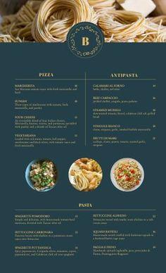 Italian Menu Template Designs - Easy to Use - MustHaveMenus Food Graphic Design, Web Design, Italian Gnocchi, Modern Restaurant Design, Blue Menu, Menu Card Design, Italian Menu, Menu Printing, Menu Template