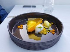 Mango confit with fluffy fennel coconut mousse and curry ice cream Coconut Mousse, Fennel, Mango, Curry, Ice Cream, Breakfast, Travel, Instagram, Food
