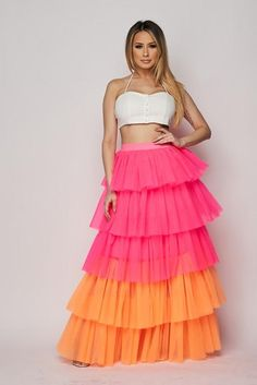 Our Cardi Tulle Ruffle Skirt Featuring Elastic Waistband Multi Level Ruffle Mesh Tulle Skirt Diy Tulle Skirt, Ruffle Skirt, Ruffles, Cardi B Costume, Bad And Bougie, Skirts For Sale, Disney Dresses, Tiered Skirts, Skirt Fashion