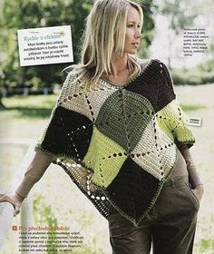 Poncho with solid granny squares. This looks easy enough! Mom made me a poncho when I was little, luved it! Col Crochet, Crochet Patron, Crochet Diy, Crochet Poncho Patterns, Crochet Shawls And Wraps, Crochet Motifs, Crochet Jacket, Crochet Woman, Crochet Afghans