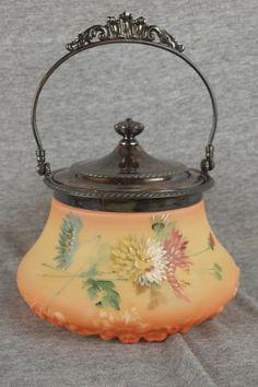 378: Mt. Washington biscuit jar with chrysanthemums : Lot 378