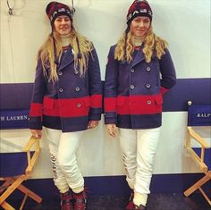Skiers Mikaela Shiffrin and Resi Stiegler modeled their Ralph Lauren-designed Team USA duds, complete with patriotic peacoat. Source: Instagram user mikaelashiffrin