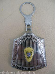 Vintage Art Nouveau Deco Silver Yellow Blue Guilloche Dance Compact RM Co Mint | eBay