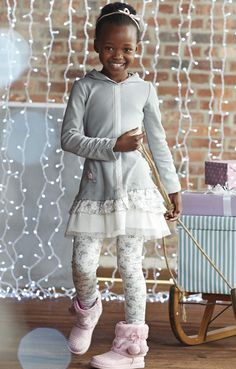 "Naartjie Kids  Hooded ribbed knit dress with print and netting skirt, paired with ballerina floral leggings. Color is ""grey violet"""