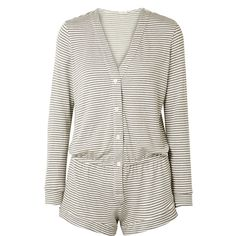 Eberjey Sadie striped stretch-modal jersey playsuit ($100) ❤ liked on Polyvore featuring jumpsuits, rompers, grey, long-sleeve romper, grey romper, gray romper, eberjey and long-sleeve rompers