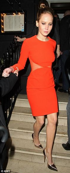 Super svelte: Slim Jennifer Lawrence needed a little extra help from Epsom Salts thanks to public appearances at the BAFTA's (right) and at a private dinner at London's Nozomi restaurant