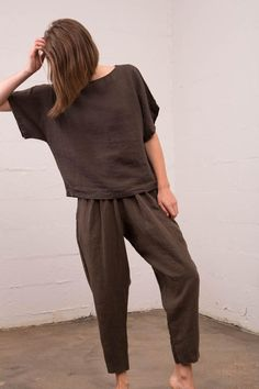 Black Crane - Linen Carpenter Pant in Charcoal