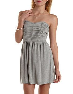 Ruched Strapless Skater Dress: Charlotte Russe