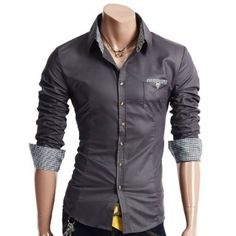 Doublju Mens Casual Patched Dress Shirts