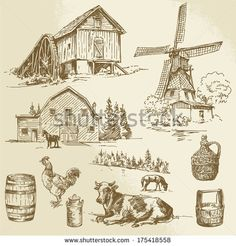 Windmill Clipart Rural Landscape Farm Hand Drawn Windmill And Watermill Stock Vector 26590671 Rural Landscape Farm Hand Drawn Windmill And Watermill Royalty Windmill Drawing, Farm Windmill, Farm Pictures, Farm Logo, Retro Vector, Vintage World Maps, How To Draw Hands, Landscape, Dibujo