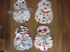 Foamy Snowmen - 1 part Glue/4 parts shaving foam