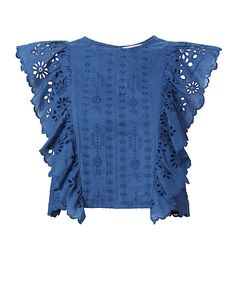 A boxy crop top designed with feminine eyelets in the must-have shade of the season. Ruffles at sleeveless cut. Lined. Boxy Crop Top, Cotton Crop Top, Blue Crop Tops, Cropped Tops, Cotton Shirts, Crop Top Designs, Blouse Designs, Crop Shirt, Shirt Blouses
