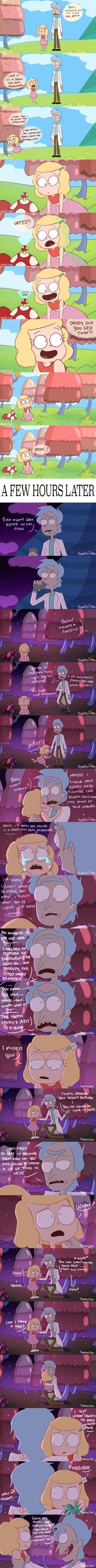 """""""There never was a Daddy and Beth adventure"""" - Beth Smith - Rick Sanchez - Rick and Morty - season 3 - """"The ABC of Beth"""" - fanart / art - comic"""
