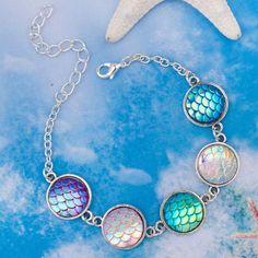"DoreenBeads Handmade Resin Mermaid Fish /Dragon Scale Bracelets Antique Silver&Silver color AB Colour Round 17cm(6 6/8"") long"