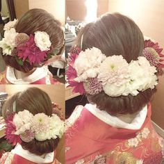 * ***************** a lot of flowers… - Back Wedding Hair And Makeup, Bridal Hair, Hair Makeup, Wedding Kimono, Hair Arrange, Flower Crown Wedding, Japanese Kimono, Hairdresser, Wedding Hairstyles
