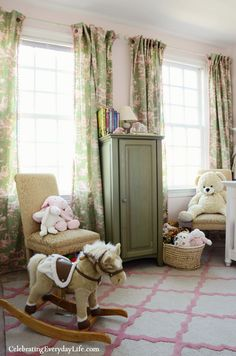 A Little Girl's Pink & Green Bedroom from Celebrating Everyday Life (celebratingeverydaylife.com), white crib, white lace canopy, pink & green toile drapes