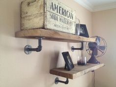 "Instead of a ""traditional"" wall-mount for our DVD/AV components. - Home Dekor Industrial Shelving, Industrial Style, Rustic Shelves, Wood Shelf, Rustic Industrial, Pipe Shelf Brackets, Metal Pipe Shelves, Pipe Shelving, Garage Organization"