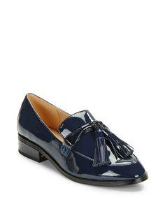 "<ul> <li>Sharp patent leather loafers with sophisticated fringe details</li> <li>Stacked heel, 1""</li> <li>Patent leather upper</li> <li>Almond toe</li> <li>Slip-on design</li> <li>Synthetic lining and sole</li> <li>Padded insole</li> <li>Imported</li> </ul>"