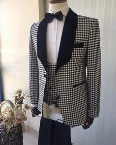 Lapel Shawl Checks Prom Suit 3 Pieces Wedding Tuxedo for Men 2019 (Jacket+vest +pants) Groom Tuxedo, Tuxedo For Men, Mens Fashion Wear, Suit Fashion, Tuxedo Wedding, Wedding Suits, Wedding Vows, Blue Suit Men, Mode Costume