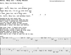 Song Hello, Mary Lou by Ricky Nelson, with lyrics for vocal performance and accompaniment chords for Ukulele, Guitar Banjo etc.