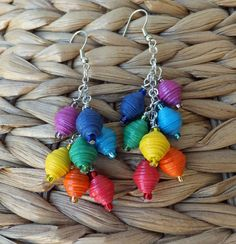 The Seven Chakras Paper Bead Earrings by BeachGirlPaperBeads