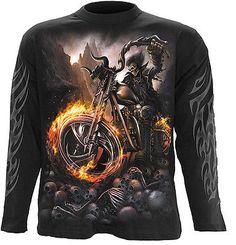 Spiral Direct WHEELS OF FIRE long-sleeve t-shirt/top biker/tattoo/horror/skull