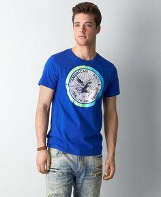 American Eagle Signature Graphic T-Shirt, Men's, Vintage Cobalt