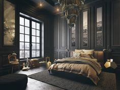 Dark bedroom themes help to center the mind, creating an atmosphere of relaxation to help lull the resident to sleep each night.