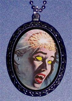 Zombie Pendant Retro Horror Movie Poster Art necklace Living Dead Brains